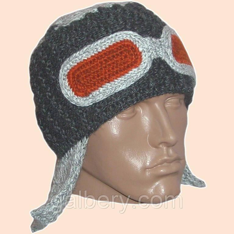 Мужская вязаная шапка - ушанка цвета маренго