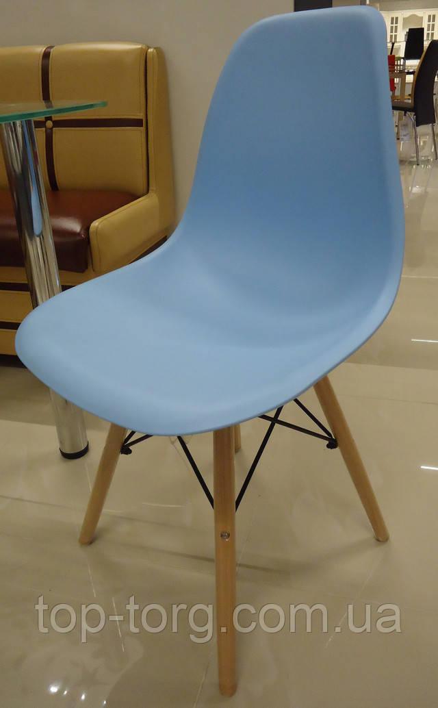 Стілець Марко Дім DS-913 Enzo blue Eams chair Імс блакитний пласиковый на дерев'яних ніжках фото