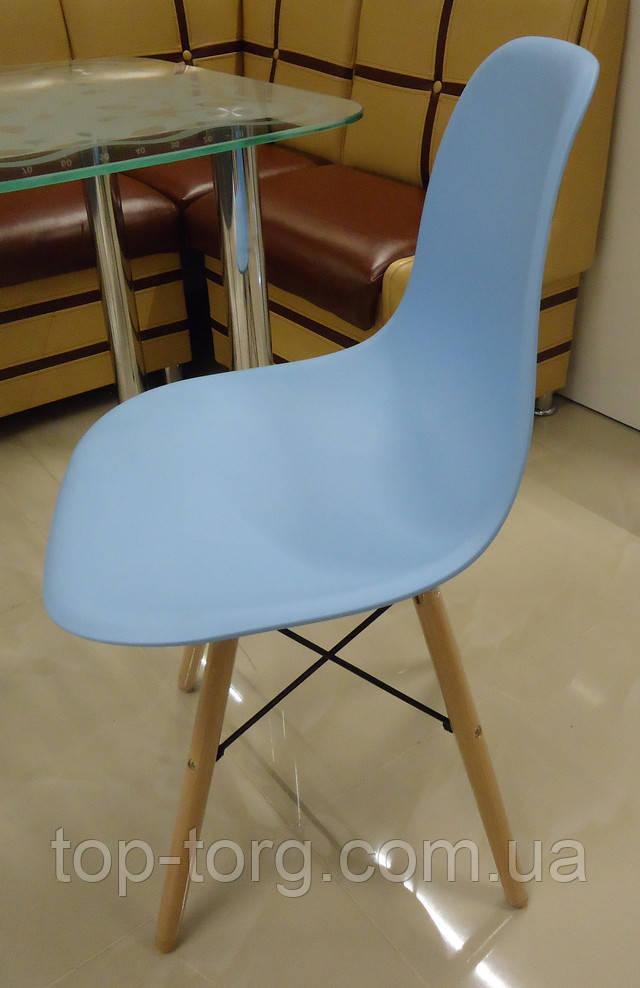 Стул Марко Дім DS-913 Enzo blue Eams chair Имс голубой пласиковый на деревянных ножках фото