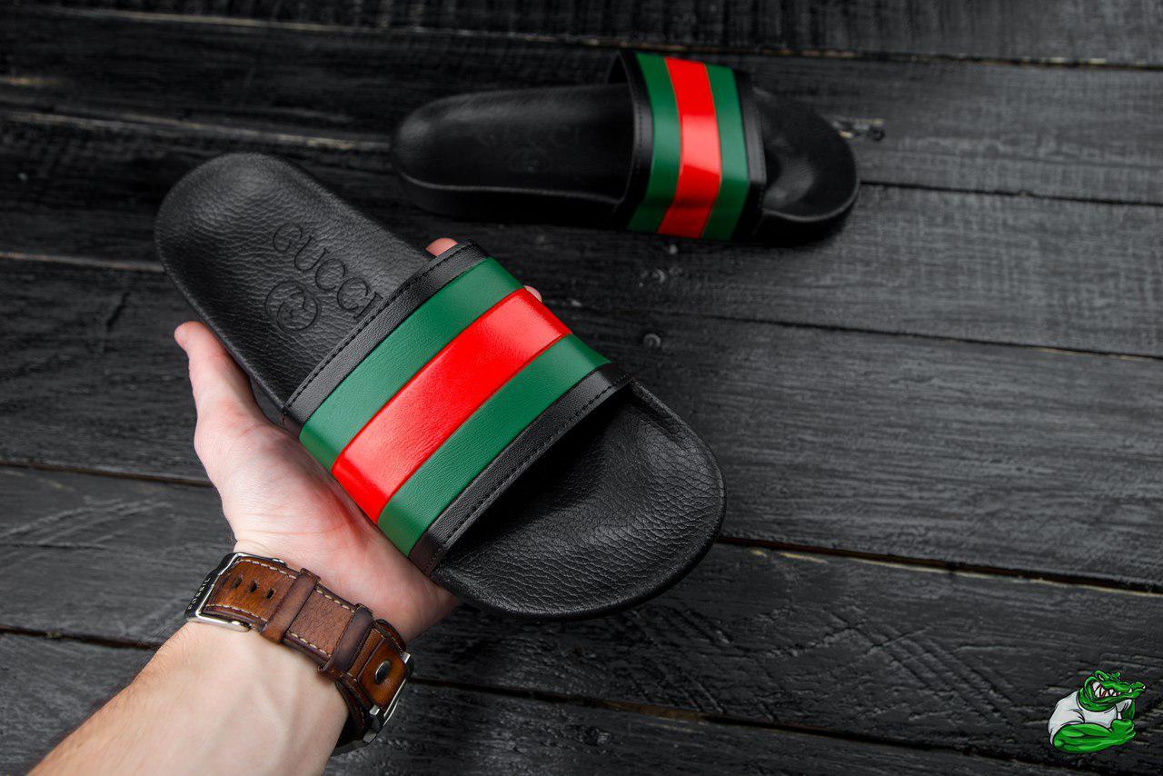 558dda42b Мужские шлепанцы Gucci Web Slide Sandal Black Rubber, Копия: продажа ...