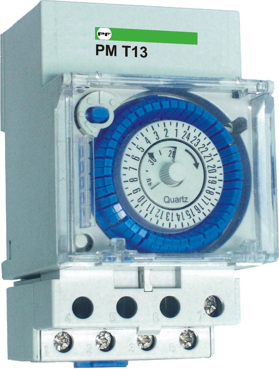 Реле модульне часу Промфактор РМ Т 13 (добове), 10А, АС230В, дискретність 30 хв