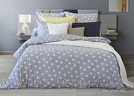 Ткань для постельного белья серая со звездами, бязь белорусская Star