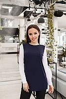 Женская блуза из трикотажа с шифоном синий,бордо, фото 1