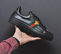 Мужские кроссовки Gucci повседневные черные по скидке, ТОП-реплика