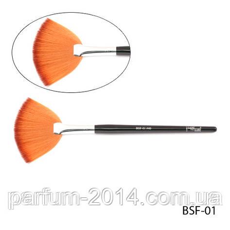 Искусственная синтетическая веерная кисть для смахивания излишков косметических средств - нейлон, BSF-01 №40, 8,0*40 mm, фото 2