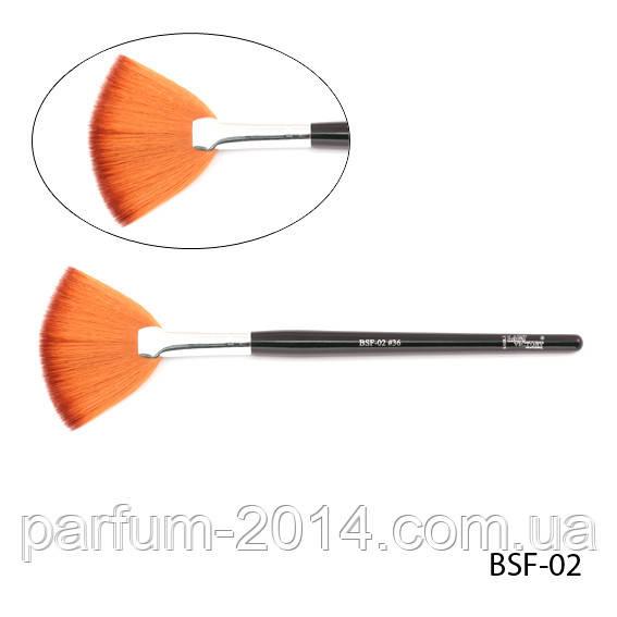 Искусственная синтетическая веерная кисть для смахивания излишков косметических средств - нейлон, BSF-02 №36, 8,0*40 mm