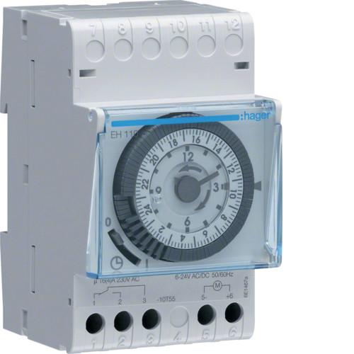 Таймер аналоговий добовий 16А, 1 перем.контакт, без резерва ходу код EH110 HAGER РАСПРОДАДА