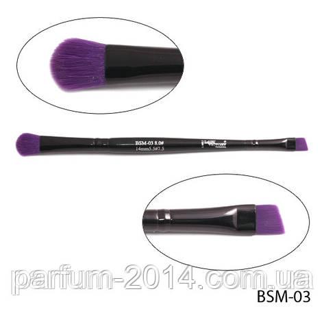 Кисть для макияжа BSM-03 двухсторонняя (нейлон) 8,0х40/5,5х30 mm (#8.#5,5)  Lady Victory, фото 2