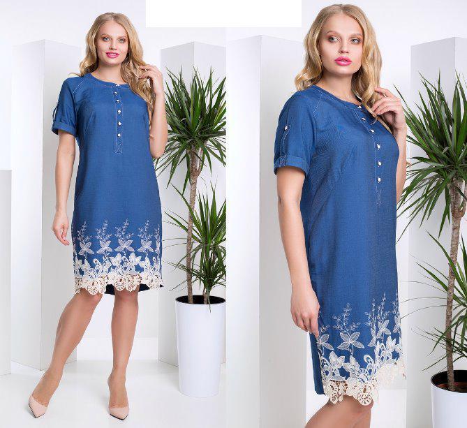 dd3c27e4e19 Джинсовое платье с кружевом