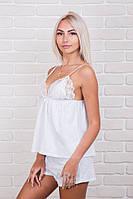 Пижама женская хлопковая с кружевом шорты белый