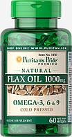 Масло льняное натуральное, Natural Flax Oil 1000 mg, Puritan's Pride, 60 капсул