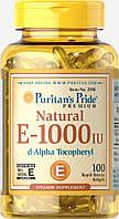 Витамин Е натуральный, Vitamin E-1000 ME, Puritan's Pride, 100 капсул