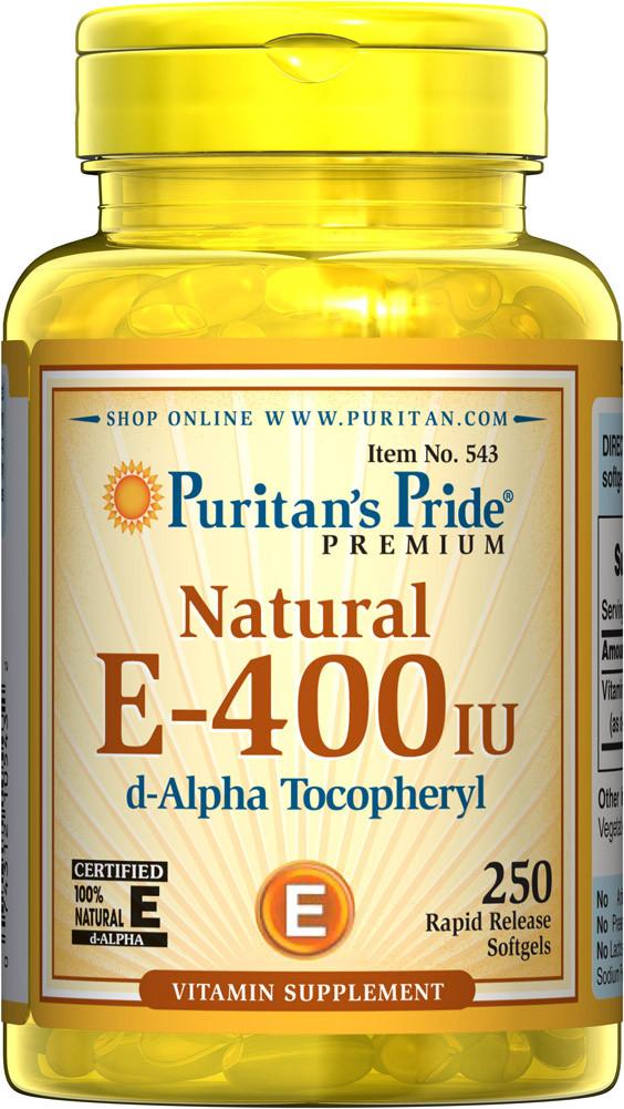 Витамин Е натуральный, Vitamin E-400 ME, Puritan's Pride, 250 капсул