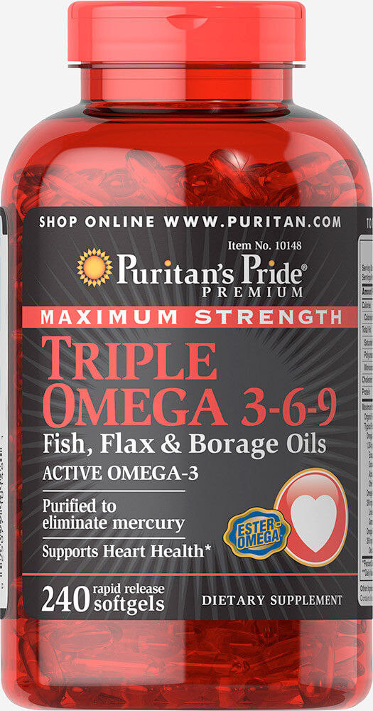 Омега 3-6-9 с маслом льна и бораго,  Omega 3-6-9 Fish, Flax & Borage Oils, Puritan's Pride, 240 капсул