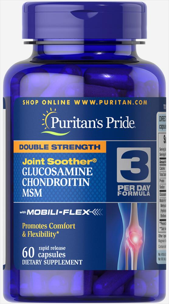 Глюкозамин Хондроитин МСМ для связок и суставов,  Glucosamine, Chondroitin & MSM, Puritan's Pride, 60 капсул