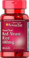 Красный дрожжевой рис, Red Yeast Rice 600 mg Puritan's Pride, 60 капсул