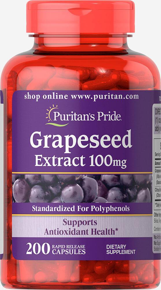Экстракт косточек винограда, Grapeseed Extract 100 mg Puritan's Pride, 200 капсул
