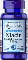 Ниацин, Flush Free Niacin 500 mg Puritan's Pride, 100 капсул
