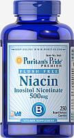 Ниацин, Flush Free Niacin 500 mg Puritan's Pride, 250 капсул