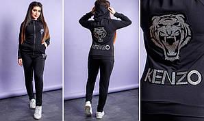 Женский спортивный костюм батал, двунить, р-р 50; 52; 54; 56 (чёрный)