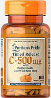 Витамин С-500 с шиповником, Vitamin C-500 mg with Rose Hips Puritan's Pride, 100 таблеток