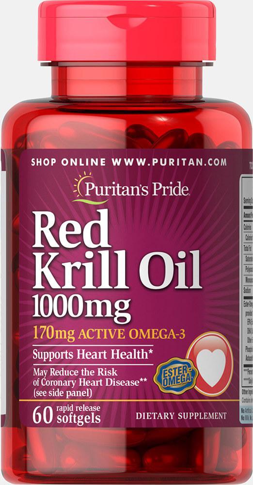 Масло криля Омега-3, Red Krill Oil 1000 mg, Puritan's Pride, 60 капсул