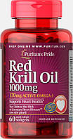 Масло криля Омега-3, Red Krill Oil 1000 mg, Puritan's Pride, 60 капсул