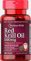 Масло криля Омега-3, Red Krill Oil 1000 mg, Puritan's Pride, 30 капсул