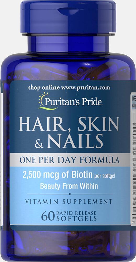 Кожа Волосы Ногти Одна таблетка в День, Hair Skin Nails, Puritan's Pride, 60 капсул