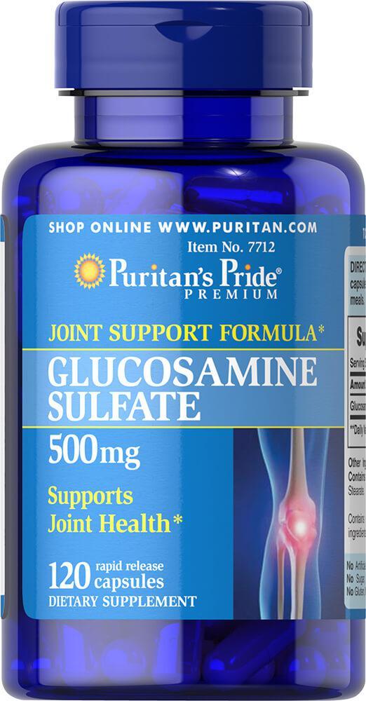 Глюкозамин Сульфат, Glucosamine Sulfate 500 mg Puritan's Pride, 120 капсул