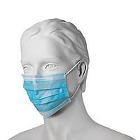 Защитная маска на резинках трехслойная Mercator Medical (50 шт в упаковке) зеленая