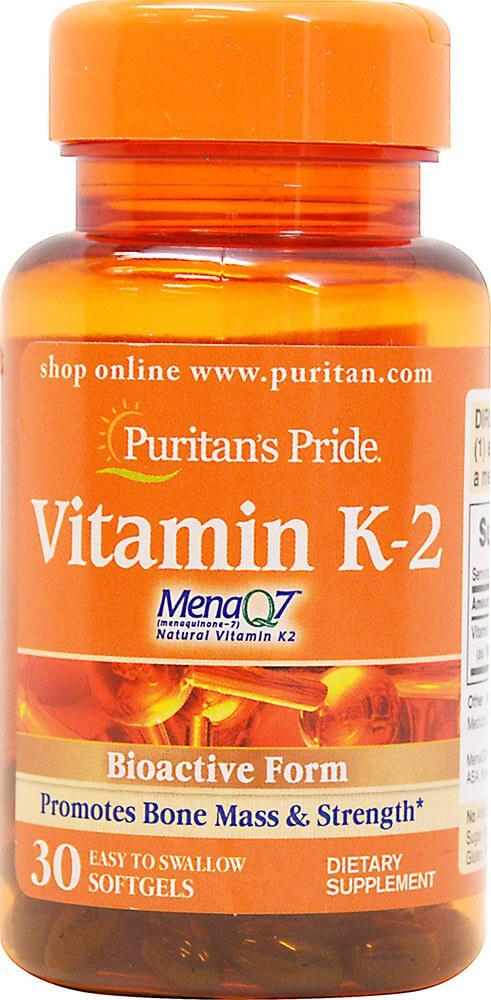 Витамин К-2, Vitamin K-2 (MenaQ7) 100 mcg Puritan's Pride, 30 капсул