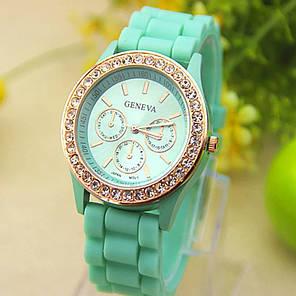 Женские кварцевые часы GENEVA Женева с силиконовым ремешком бирюзовый, фото 2
