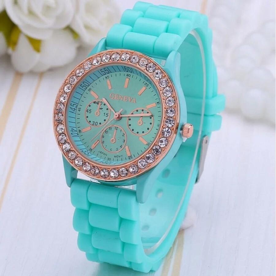 Женские кварцевые часы GENEVA Женева с силиконовым ремешком бирюзовый