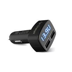 Зарядка USB в прикуриватель на 2 выхода (ток, напряжение, температура Ф), автомобильная зарядка USB 4в1 3.1A