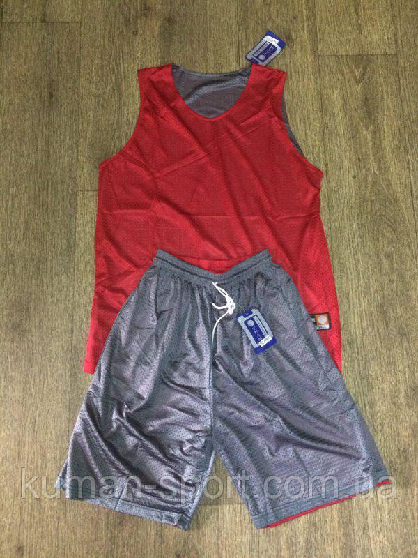 Форма баскетбольная Team Basketball двусторонняя красно-серая, фото 1