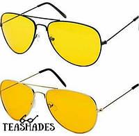 Солнцезащитные Очки желтые Авиаторы от Teashades - Bershka M&S Zara H&M Zara Mark Jacobs Prada Dior Levis Vans Черно-Серебряный