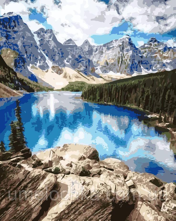 Картина по номерам Горное озеро (AS0150) 40 х 50 см ArtStory