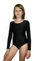 Детский гимнастический купальник для танцев черный для деток от 5 до 10 лет (бифлекс)
