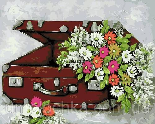 Раскраска для взрослых Чемоданчик с цветами (AS0128) 40 х 50 см ArtStory