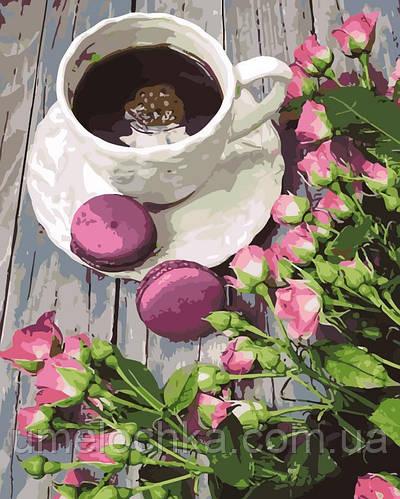Раскраска для взрослых Кофе с макарунами (AS0129) 40 х 50 см ArtStory
