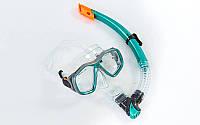 Набор для плавания маска с трубкой Zelart M276-SN120-PVC (бирюзовый)