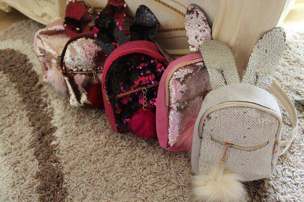 Рюкзак с ушками Cutie Зайка двусторонние пайетки меховой брелок