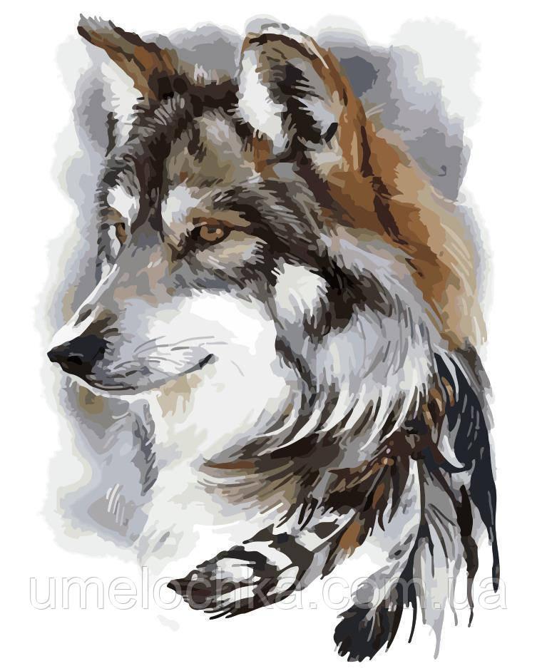 Картина по номерам Индейский волк (AS0169) 40 х 50 см ArtStory