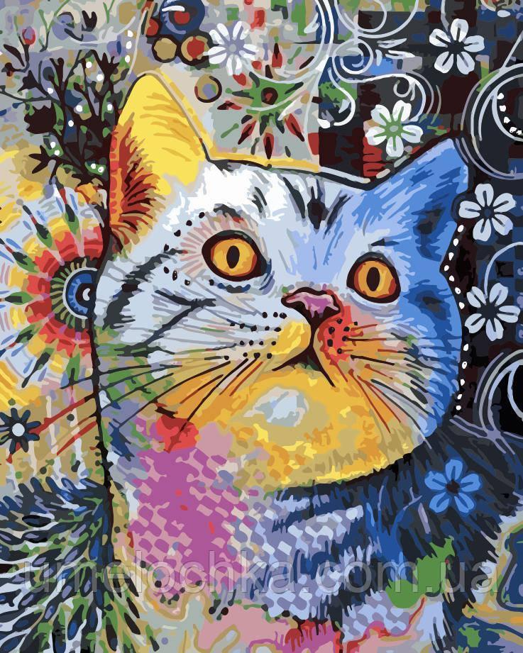 Картина по номерам Цветной кот (AS0167) 40 х 50 см ArtStory
