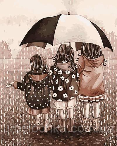 Раскраска по цифрам Подружки под зонтом (AS0183) 40 х 50 см ArtStory