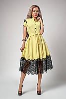 Роскошное женское платье бледно-желтого цвета, фото 1