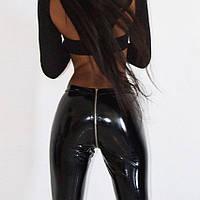 Женские виниловые лосины с молнией сзади (на попе) черные