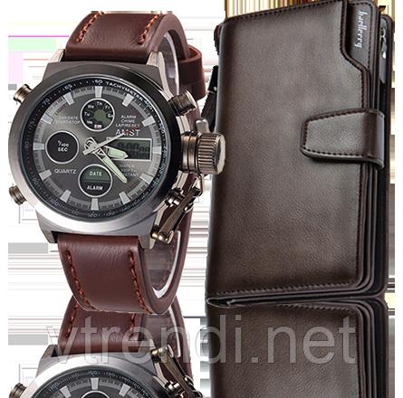 Комплект ударопрочные часы AMST + портмоне Baellerry Business