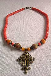 Українське намисто із теракотового  коралу, латунний хрестик